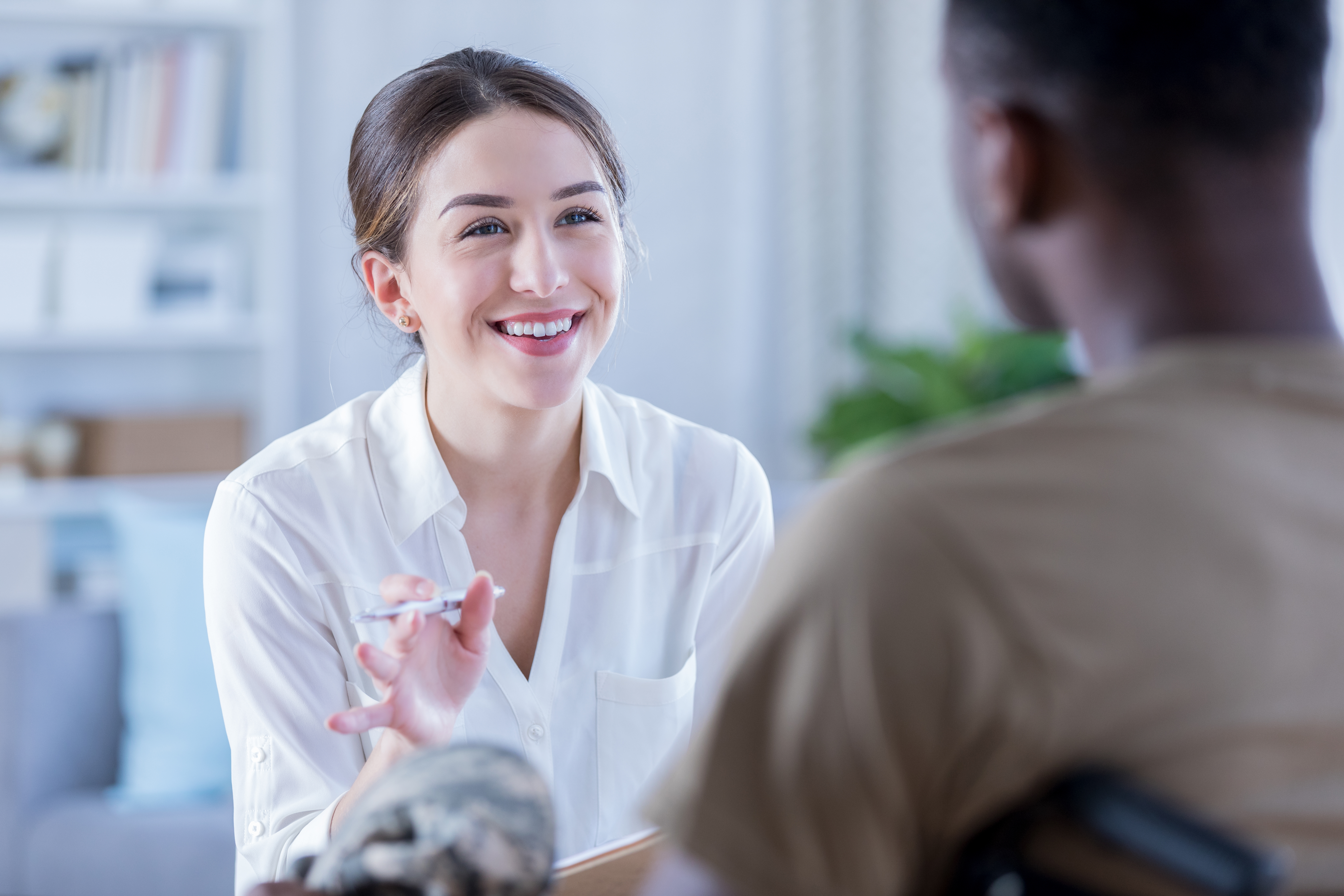 Therapist explaining Hushmail to her client